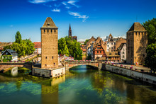 Old City Center Of Strasbourg Town With Colorful Houses, Strasbourg, Alsace, France, Europe.