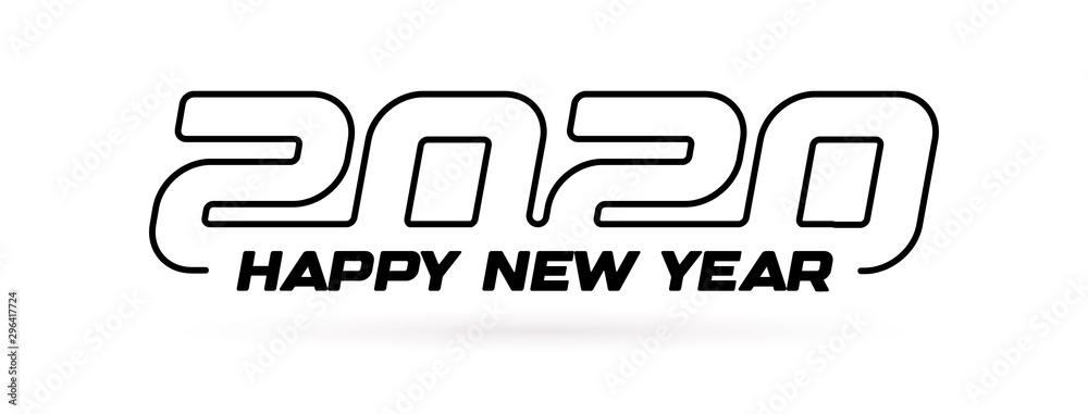 2020 konturu nowożytny projekt z teksta Szczęśliwym nowym rokiem, kartka z pozdrowieniami okładkowym szablonem, nowego roku partyjny logo dla biznesu, odosobniona wektorowa ilustracja