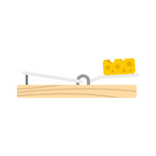 Mouse Trap Cheese Icon. Flat Illustration Of Mouse Trap Cheese Vector Icon For Web Design