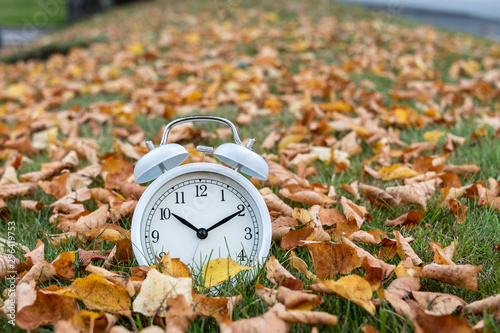 Time change, classic white alarm clock outside on grass and moss berm with fall Canvas Print