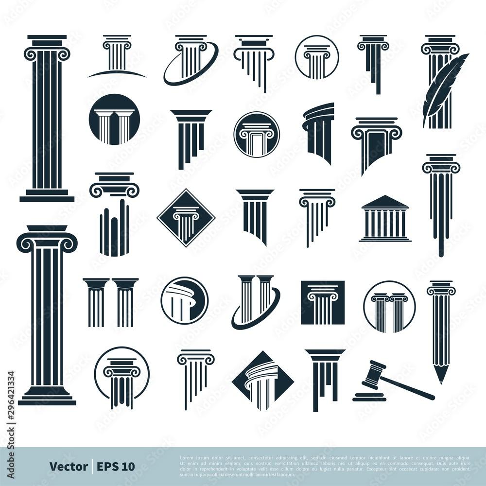 Fototapety, obrazy: Set Column Pillar Icon for Legal, Attorney, Law Office Logo Vector Template Illustration Design. Vector EPS 10.