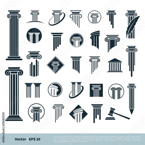 Fotografía  Set Column Pillar Icon for Legal, Attorney, Law Office Logo Vector Template Illustration Design
