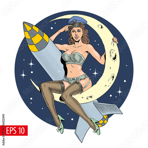Obraz na plátně A vintage sexy woman sitting on the crescent moon with a missile or rocket