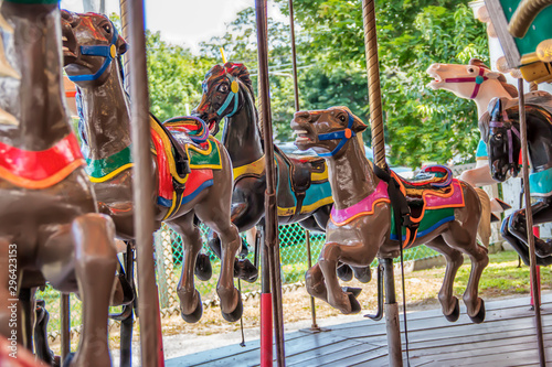 Papiers peints Attraction parc brown horses on a carousel at an amusement park