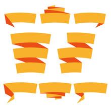 Folded Ribbon Banner Set. Collection Of Orange Label Templates. Vector Illustration