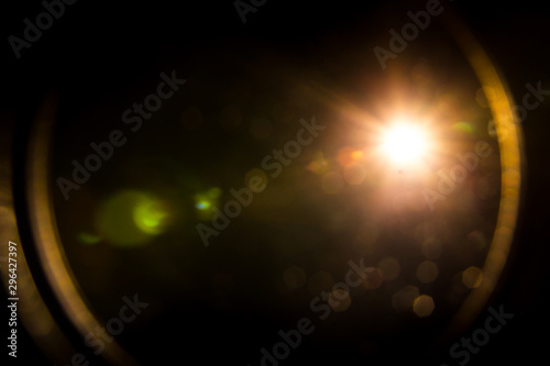 abstract lens flare red light over black background Tableau sur Toile