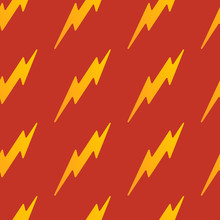 Abstract Vector Yellow Seamless Thunder Pattern Flat Design On A Red Background