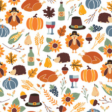 Seamless Thanksgiving Day Vector Pattern With Pumpkins, Hats, Sunflowers, Turkey, Hedgehog, Wine Bottle, And Leaves. Autumn Repeating Background For Party Invitation, Fabric, Packaging, Dinner Party