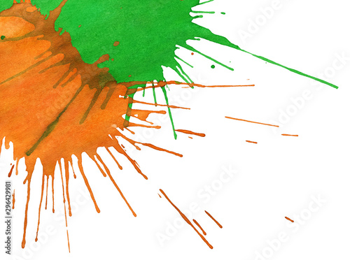 Obraz Abstract orange-green paint drops isolated on white background - fototapety do salonu
