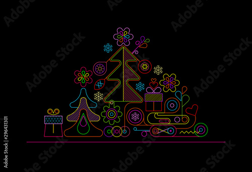 Tuinposter Abstractie Art Christmas Tree Neon Design