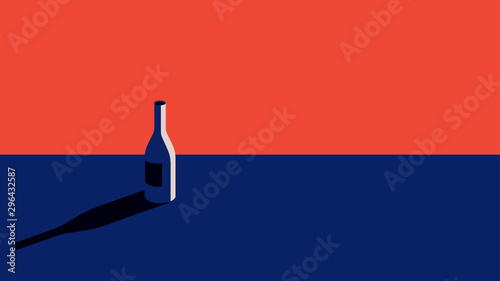 A bottle of wine in a minimal style