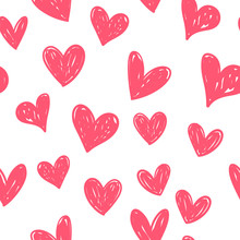 Hearts Seamless Pattern. Hand Drawn  Heart Doodles Texture.