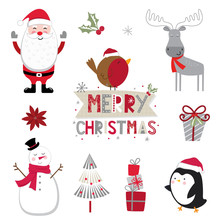 Cute Christmas Character Sets On White Background