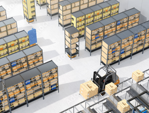 Photo  Autonomous Mobile Robots delivering shelves in distribution center