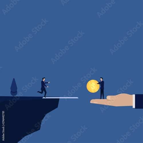 Fotografering  Business flat vector concept businessman run to coin on edge of cliff metaphor of cheat and trap