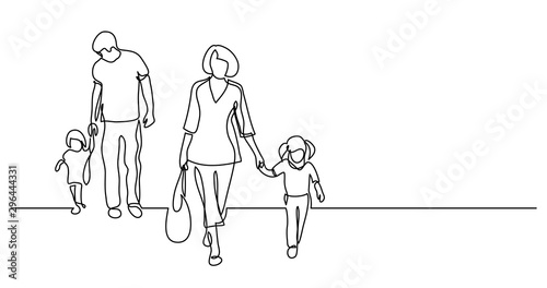 continuous line drawing of family of four walking on street holding hands