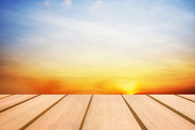 Wooden Table For Your Texture And Sunset Sky Background Montage