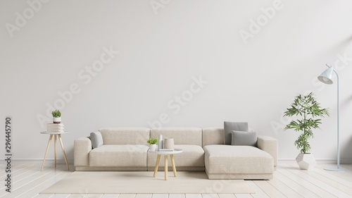 Photographie  Modern living room interior with sofa and green plants,lamp,table on white wall background