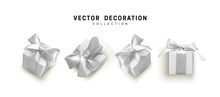Set Of Gifts Box. Collection Realistic Gift Presents View Top, Side Perspective View. Celebration Decoration Objects. Isolated On White Background. Vector Illustration