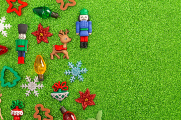 A Festive Holiday Background with Various Christmas Theme Toys