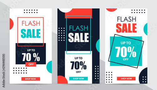 Fotografía  Set of social media flash sale design templates