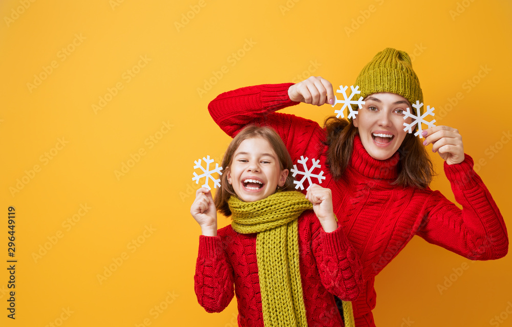 Fototapety, obrazy: Winter portrait of happy family