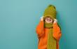 canvas print picture - Winter portrait of happy child