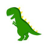 Fototapeta Dinusie - Green dinosaur cartoon vector illustration isolated on white background. T-rex.