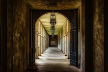 Arched Walkway Corridor With G...