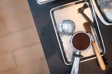 Coffee Powder On Coffee Tamper