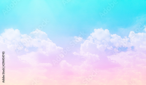 Poster Turquoise Dream unicorn gradient pink blue yellow and purple clear sky and cloud background.