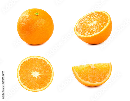 Fotomural  Orange fruit with half and sliced isolated on white background.