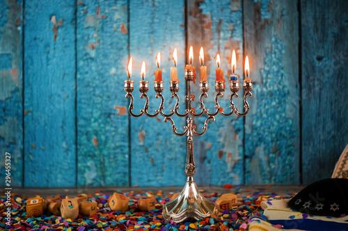 Selective focus of Hanukkah menorahs traditional candelabra in the Jewish Festiv Wallpaper Mural