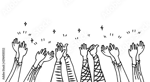 Photo hand drawn of hands clapping ovation