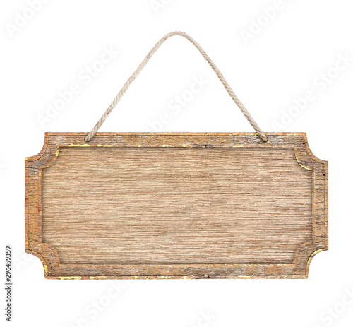 Fotomural  empty wooden sign frame with lope for hang on white background with clipping pat