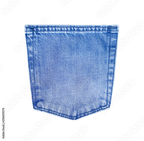 Fotomural blue jeans back pocket texture isolated on white background with clipping path