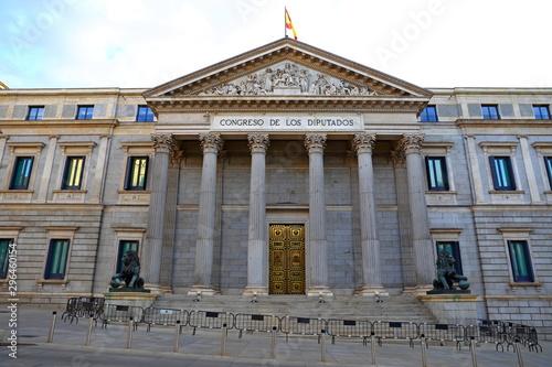 Front view of Palacio de las Cortes or Congreso de los Diputados (Congress of De Canvas-taulu