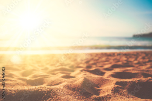 Fotomural Copy space of soft sand sea and blur tropical beach with sunset sky and cloud abstract background
