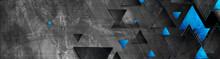 Tech Blue Triangles On Dark Gr...