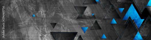 Tech blue triangles on dark grey grunge header banner. Vector abstract corporate background - 296463756