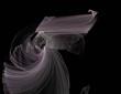 canvas print picture - image of one Digital Fractal on Black Color