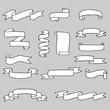 set of hand drawn vector doodle ribbon banner illustrations
