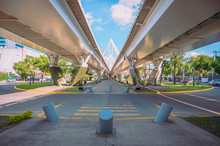 Matute Remus Bridge In The City Of Guadalajara With Blue Sky And View Of The City