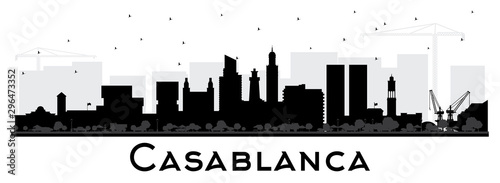 Casablanca Morocco City Skyline Silhouette with Black Buildings Isolated on White.