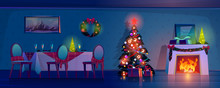 Room At Christmas Night, Empty...