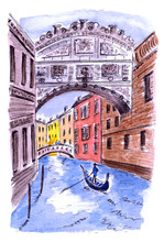 Watercolor Drawing Of Venice, ...