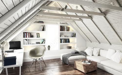 Attic Studio (black and white) - 3d visualization Fototapet