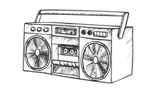 Music Player For Listening Music Retro Vector. Ancient Audio Stereo Cassette Tape Player. Boom Box Multimedia System Engraving Concept Template Hand Drawn In Vintage Style Black And White Illustration