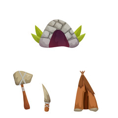 Vector illustration of age and stone icon. Set of age and primitive vector icon for stock.