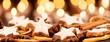 cinnamon stars with oranges for christmas panorama